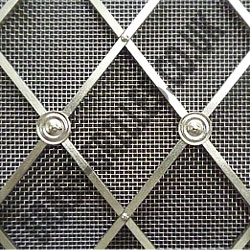 Regency Satin Chrome Grille, 41mm Diamonds, Alternate Plain Rosettes, Fine Satin Chrome Mesh Backing