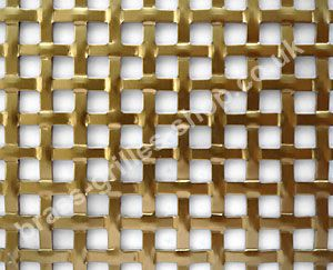 Interwoven Square Effect Decorative Grille - Anodised Gold Aluminium - Sheet = 2000mm x 1000mm